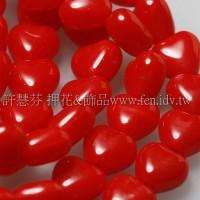 6X6mm捷克小愛心形珠-珊瑚紅-50個