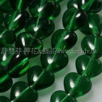 6X6mm捷克小愛心形珠-翡翠綠-50個