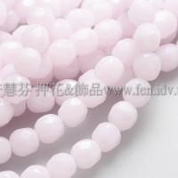 捷克棗形珠6mm柔白粉紅-20個