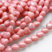 6X6mm捷克小愛心形珠-深玫瑰紅-50個