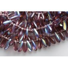 捷克小箭形珠3x10mm三色堇紫-20個