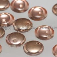 捷克扁圓邊洞珠6mm可可金/玫瑰金雙面色-10個