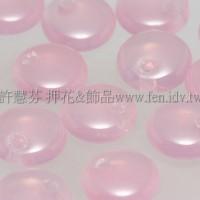 捷克扁圓邊洞珠6mm蛋白玫瑰粉紅-10個