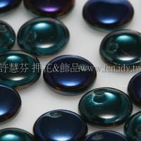 捷克扁圓邊洞珠6mm藍色紫羅蘭七彩色-10個