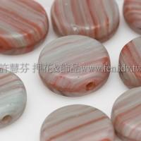 捷克扁圓珠8mm漸層條紋-岩石灰綠-紅混合色-10個