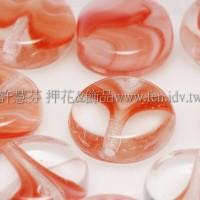 捷克扁圓珠8mm漸層條紋-蛋白-紅混合色-10個