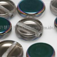 捷克扁圓珠8mm炫光七彩-透明水晶雙面色-10個