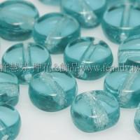捷克扁圓珠5mm水鴨藍綠-20個