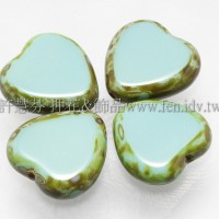 15X15mm捷克心形珠-復古紋-青瓷藍混合色-5個