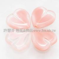 15X15mm捷克心形珠-透明-水蜜桃紅漸層混合色-5個