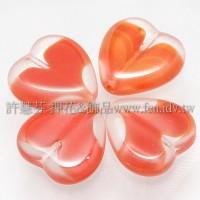 15X15mm捷克心形珠-透明-紅漸層混合色-5個