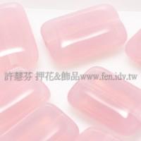 捷克扁長方形珠8x12mm蛋白玫瑰粉紅-10個