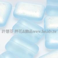 捷克扁長方形珠8x12mm炫彩半透明-嬰兒藍-10個