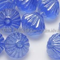 捷克圓切角菱形珠9mm銀線紋亮天藍色-10個