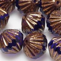 捷克圓切角菱形珠9mm寶藍色/金線紋-10個