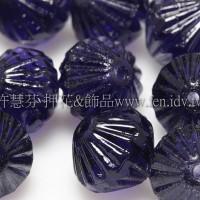 捷克圓切角菱形珠9mm藍紫晶色-10個