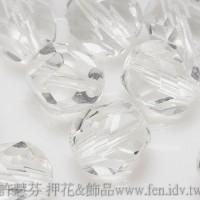 捷克圓形珠-切角-8mm晶亮水晶色-10個
