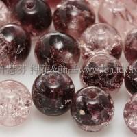 捷克圓形珠6mm冰裂葡萄紫-透明水晶混合色-20個
