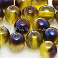 捷克圓形珠6mm透明黃綠-紫光混合色