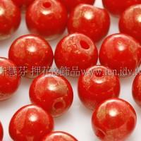 捷克圓形珠6mm珍珠光紅蕃茄色