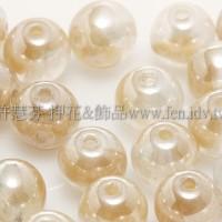 捷克圓形珠6mm珍珠光水晶小麥色