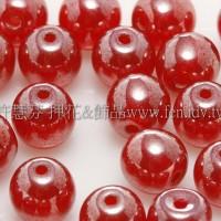 捷克圓形珠6mm珍珠泰國紅寶石紅