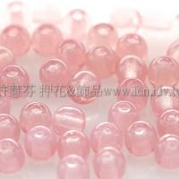 捷克圓形珠4mm淺蛋白玫瑰粉紅-50個