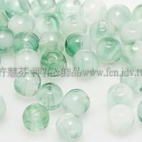 捷克圓形珠4mm翡翠綠-晶透亮綠混合色-50個