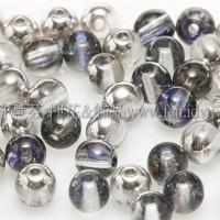 捷克圓形珠4mm銀彩七彩水晶光雙面色-50個