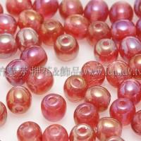 捷克圓形珠4mm珠光櫻桃紅-50個