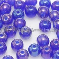 捷克圓形珠4mm紫-藍混合金屬珠光