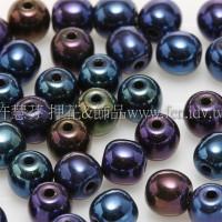 捷克圓形珠4mm紫-綠-藍混合金屬光珠-50個