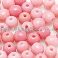 捷克圓形珠4mm粉紅玫瑰石色-50個