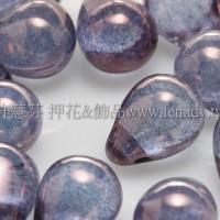 6X8mm捷克水滴形珠-紫色水晶珠光色 -20個