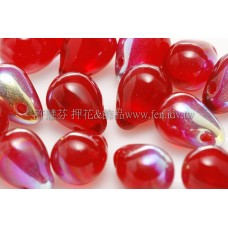 6X8mm捷克水滴形珠-泰國紅寶石水晶珠光色-20個