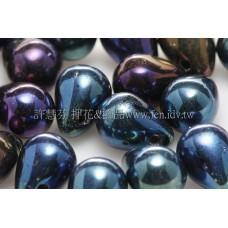 6X8mm捷克水滴形珠-紫-藍-綠-可可金炫彩混合色-20個