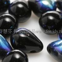 6X8mm捷克水滴形珠-炫彩黑玉色-20個