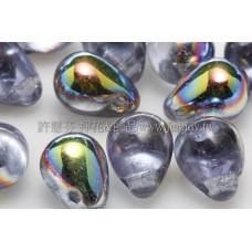 6X8mm捷克水滴形珠-愛麗絲藍水晶珠光色-20個