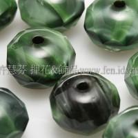 捷克車輪珠6x9mm貓眼閃光孔雀石綠-黑混合色-6個