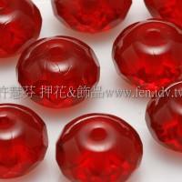 捷克車輪珠6x9mm泰國紅寶石紅-6個