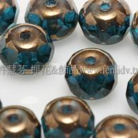 4X6mm捷克車輪珠-金色花帽-水鴨藍綠色-1包-10個