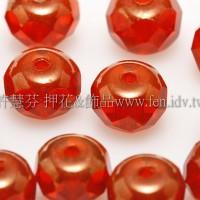 4X6mm捷克車輪珠-金色花帽-豔紅色-1包-10個