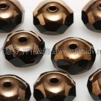 3X7mm捷克車輪珠-金色花帽-黑玉色-10個
