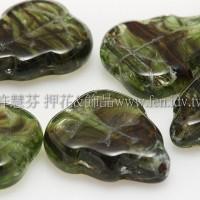 10x12mm捷克葡萄葉形珠-海綠水草紋-10個