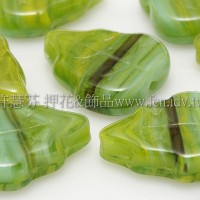 10x12mm捷克葡萄葉形珠-黃綠水草紋-10個