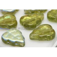10x12mm捷克葡萄葉形珠-透明炫彩草綠色-10個