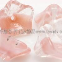 捷克花形大喇叭珠8x13mm透明水晶-水蜜桃紅混合-10個