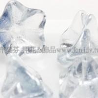 捷克花形大喇叭珠8x13mm透明水晶-岩石藍混合-10個