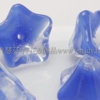 捷克花形大喇叭珠8x13mm透明水晶-皇室藍混合-10個