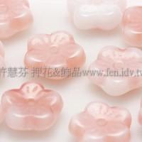 捷克梅花珠3x8mm水蜜桃紅x牛奶白漸層混合色-20個